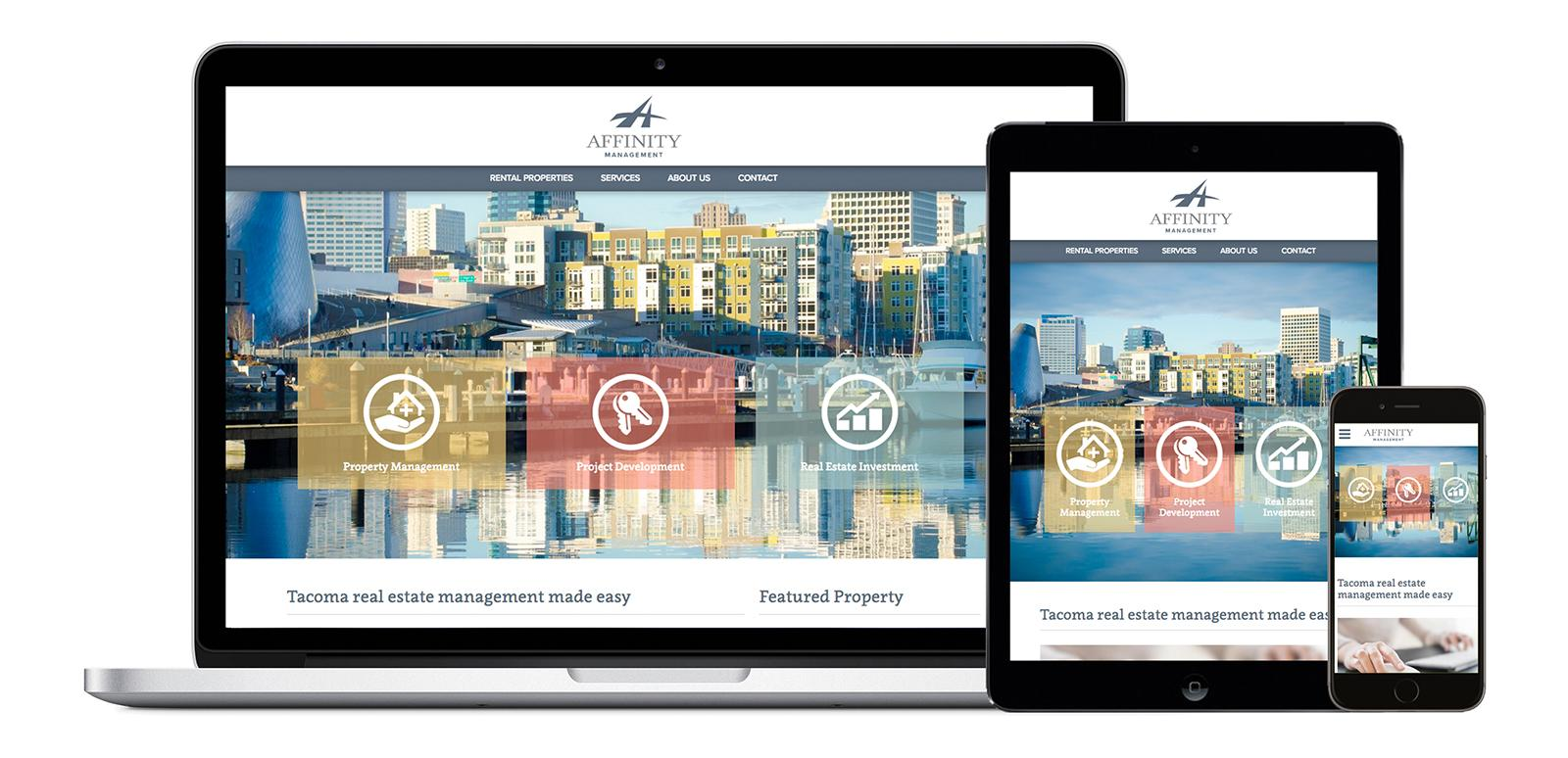 Web design tacoma sample project image, featuring screenshots of Affinity Management