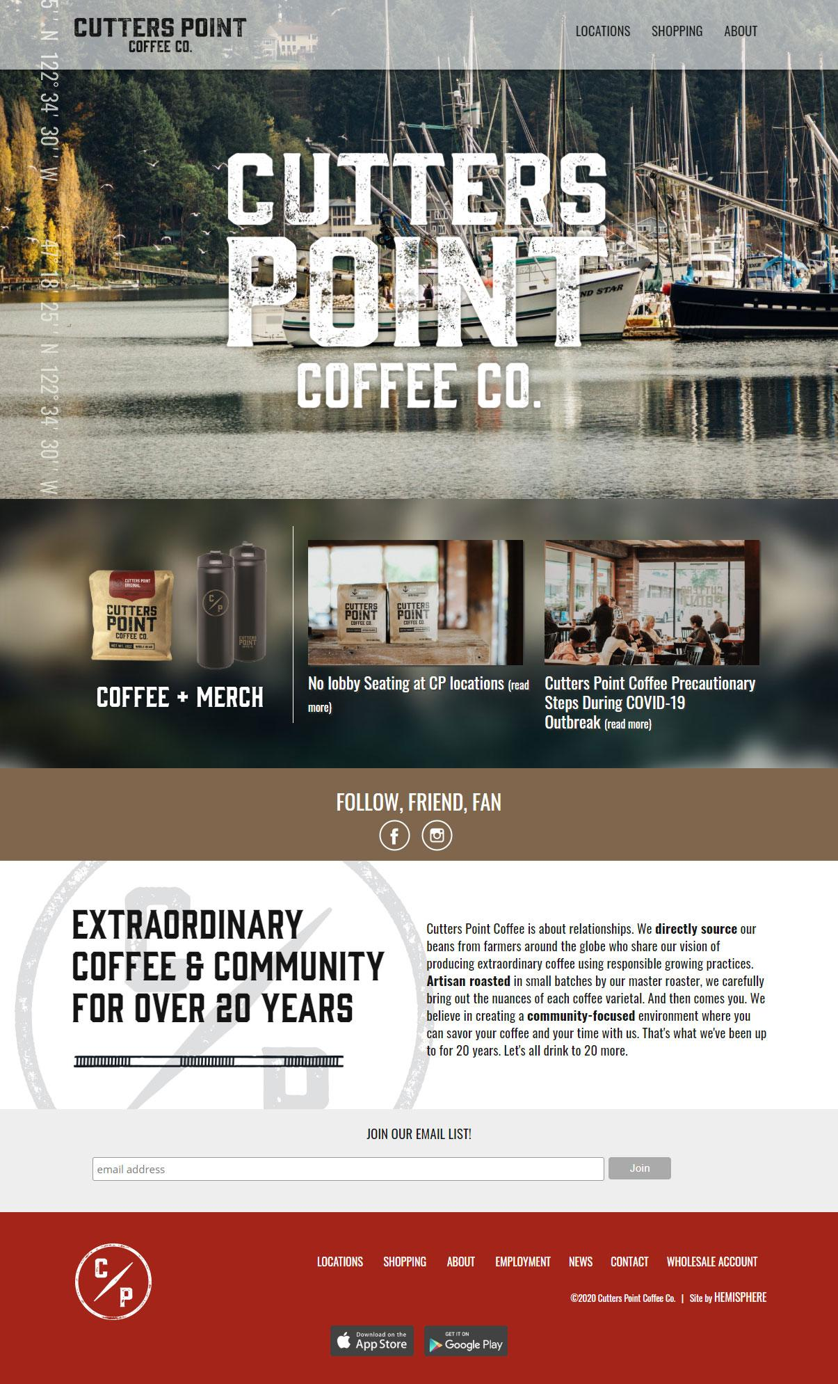 Cutters Point Coffee website homepage layout