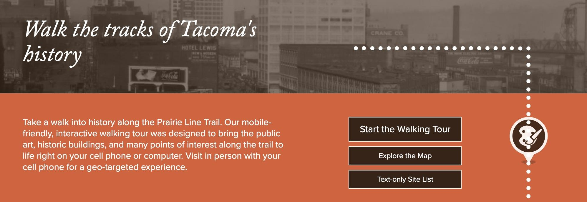Screenshot image from PLT website featuring the words Walk the tracks of Tacoma