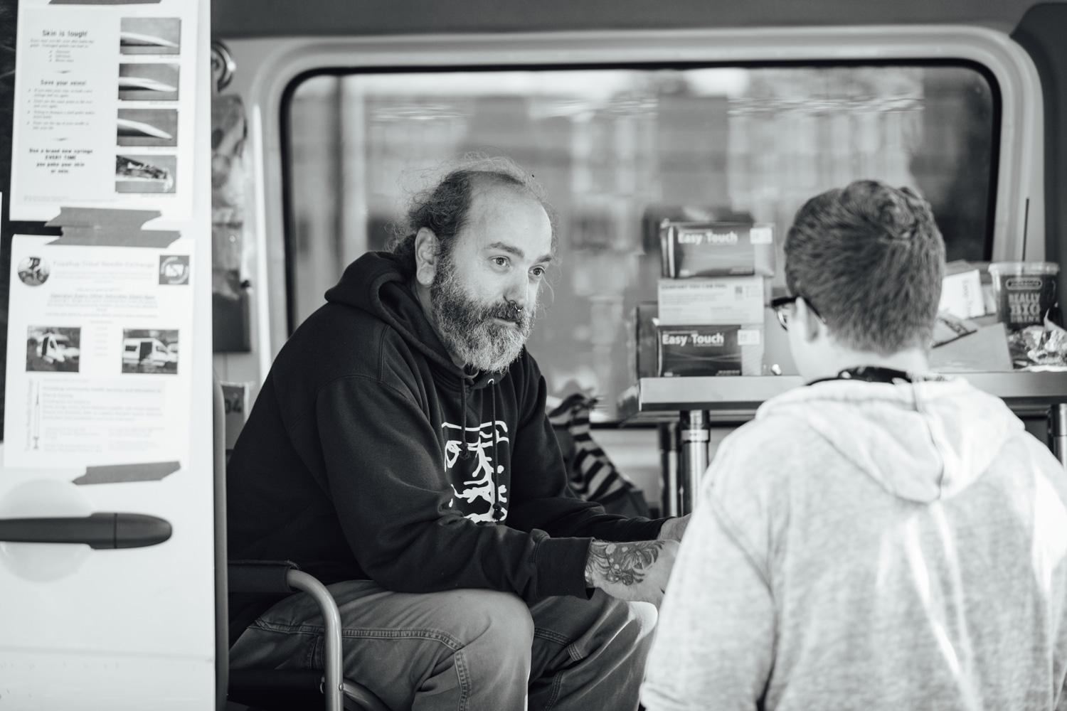 Man working at a needle exchange van