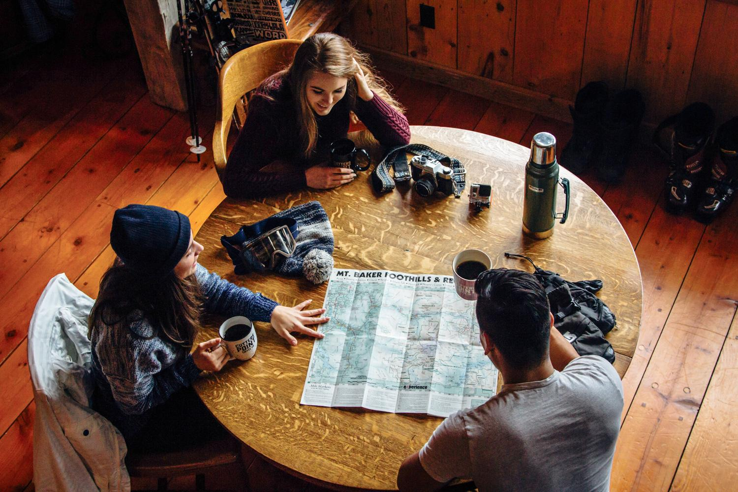 Young people planning an outdoor adventure